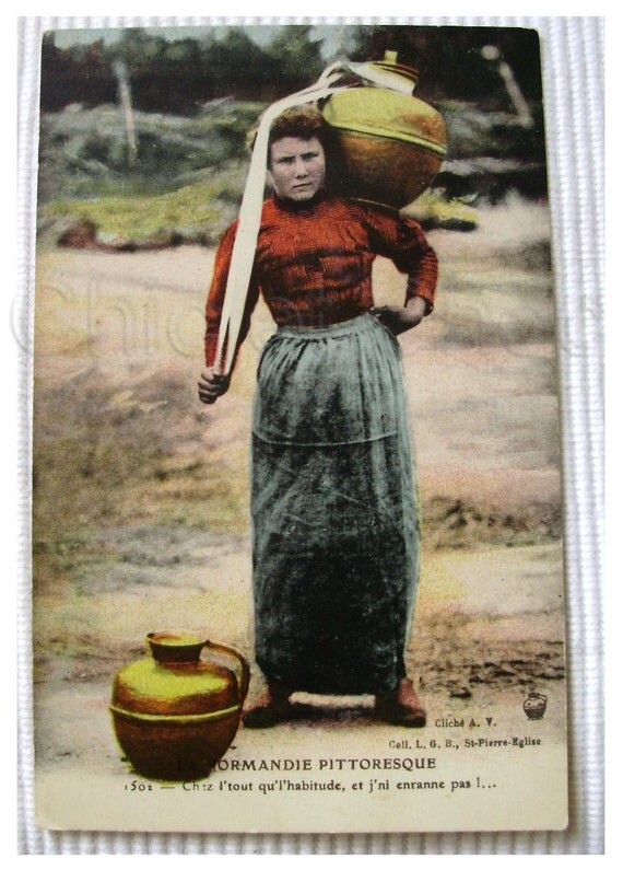 Vintage French Postcard - Woman Carrying a Large Pot, Normandy, France