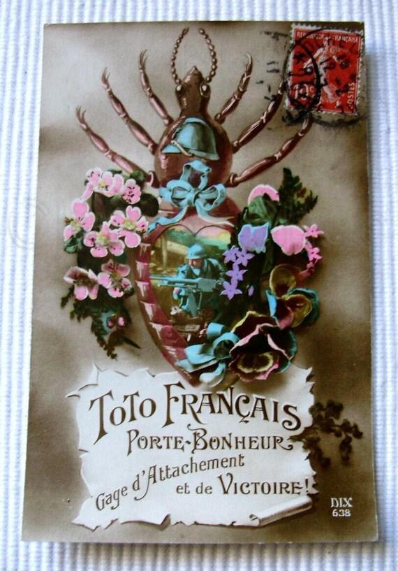 Vintage / Antique French Patriotic WW1 Postcard