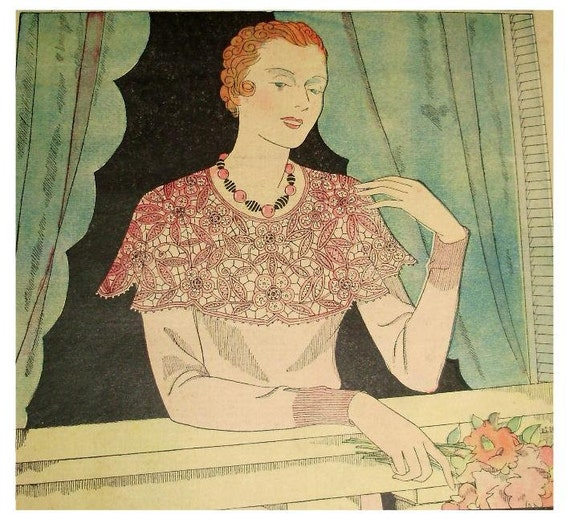 Vintage 1930s French Art Deco Needlecraft / Craft Magazine with Patterns, Mon Ouvrage