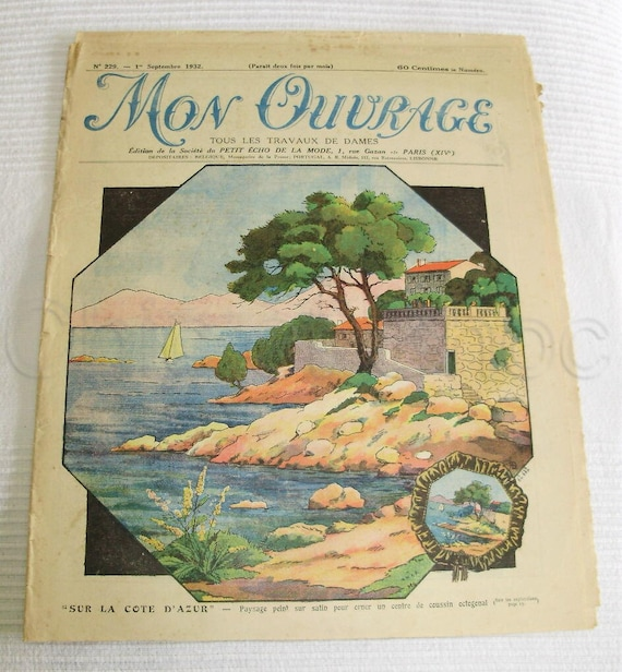 French 1930s Art Deco Needlecraft Magazine with Patterns - Mon Ouvrage