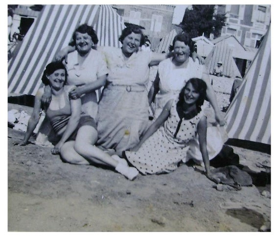 Vintage French Black and White Photo - Ladies on the Beach