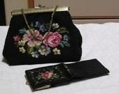 Vintage Flower Needle point handbag with matching bill fold/ change purse