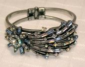 Vintage Sweet Romance USA Shooting Star blue and AB rhinestone bracelet