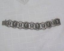 Vintage sterling Siam dancing lady bracelet