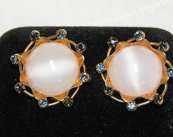 Rhinestone and white cabachon clip earrings Made in Austria