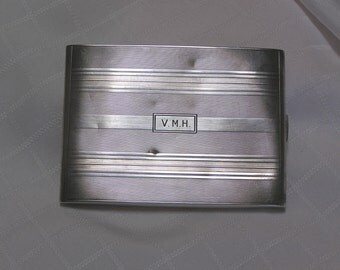 Vintage silver cigarette case and pouch  Long of Boston