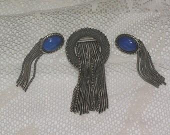 Pierre Lorion Sylvia Karels Paris Mesh brooch and earrings