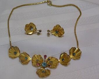 Vintage B N Multi Colored Rhinestone Flowers Demi Parure