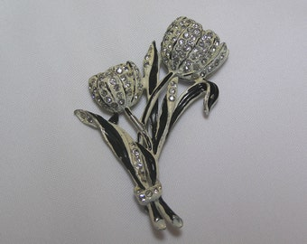 Vintage Rhinestone Black and White enameled Leaves 3 dimensional Cup Tulip Brooch