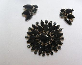 Vintage Black Glass Marquis Cut Rhinestones..Slate Blue Rhinestones..Brooch and Clip Earrings