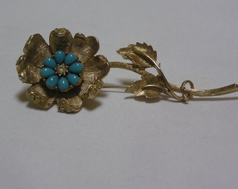 Vintage Coro gold tone..faux Turquoise..Clear Rhinestone Brooch