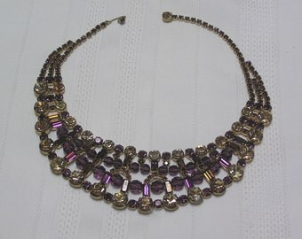 Vintage Amethyst Baguettes and Topaz Round Rhinestones Net..Belle of the Ball..Dramatic Collar Necklace