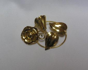 Vintage Sterling with Gold overlay Flower and Leaf Brooch
