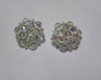 Vintage Aurora Borealis Chunky Crystal Clip Earrings