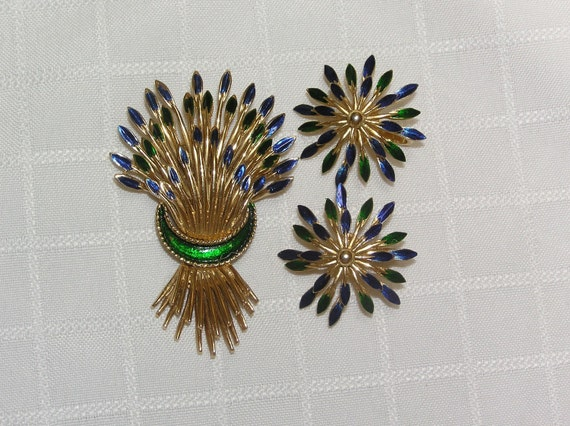Reserved for Shannon..Vintage Crown Trifari Wheat Shafts enameled brooch and earrings