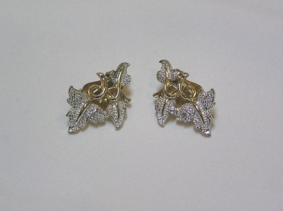 Vintage Sarah Coventry silver leaf and gold tone Stems Clip Earrings