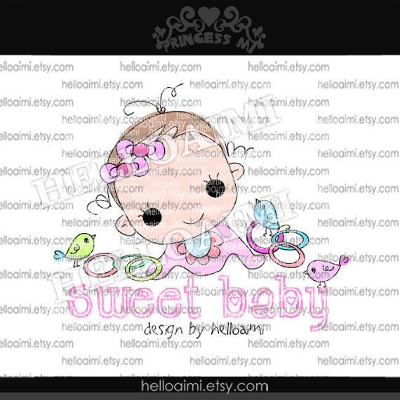 Custom Premade Logo Design - sketch hand drawn little baby girl two birds logo photography business logo boutique by princess mi logo1238-1