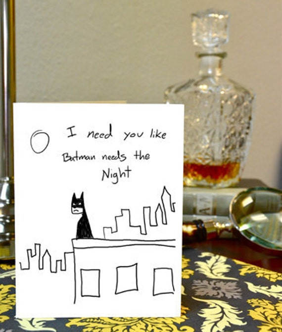 Batman Greeting Card The Dark Knight Hand Drawn Nerdy Card