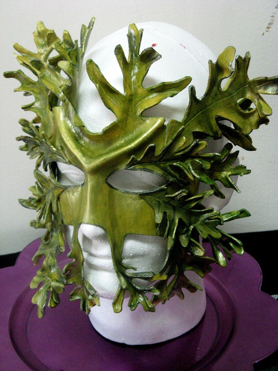 Custom order for Greenman Leather Mask, element of earth