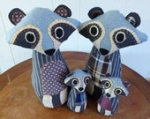 Raccoon Family of Four - Customizable Family Gift for Mom, Made From Salvaged and Re-Purposed Fabrics - Made to Order
