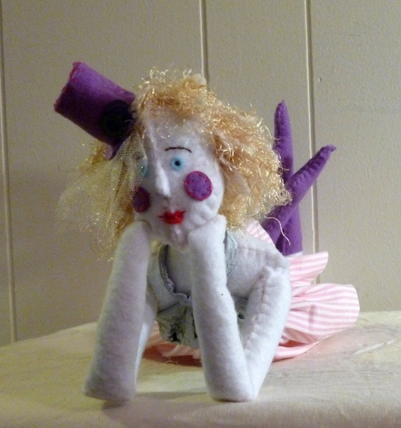 Josephine the Clown - 14 Inch Felt Art Doll Laying on Her Stomach