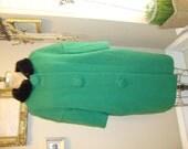 Vintage 60's Neiman Marcus Kelly Green Tweed Black Faux Fur Collar Swing Coat SO MOD