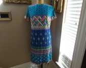 Vintage 60's Westover Walker Pucci like Geometric Printed Nylon Dress CUTE 14