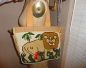 Vintage 70's Needlepoint embroidered LION Golden Canvas Tote Bag Handbag CUTE
