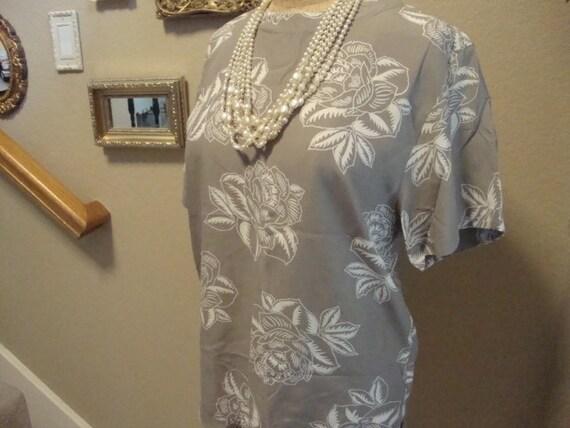 Vintage 80's Christian Dior Floral printed Blouse Shirt 12 CUTE