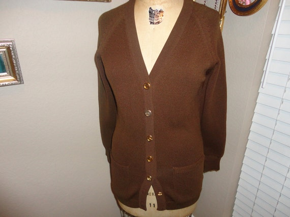 Vintage GIVENCHY Brown Sweater cardigan Boyfriend sweater Gold G logo Buttons AWESOME S
