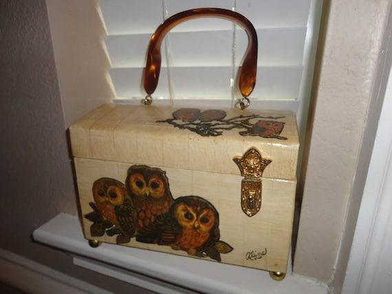 Vintage 70's OWLS Wooden Box bag Handbag Enid Collins LIKE  CUTE