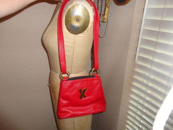 Vintage 80's RED Paloma Picasso Made In Italy Leather cross body Handbag purse CUTE