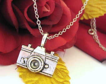 Camera Jewelry - Camera Pendant - Sterling Silver Camera Necklace - Photographer Gift 027