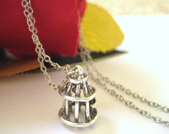 Birdcage Effigy Silver Charm Necklace