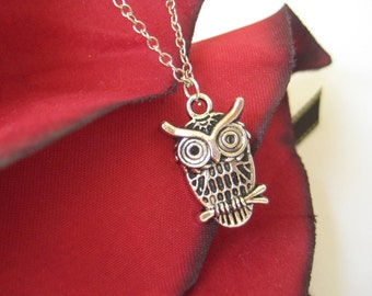Silver Owl Necklace - Owl Pendant - Charm Necklace - Owl Jewelry
