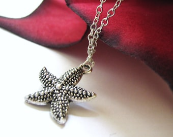 Ocean Starfish Silver Charm Necklace
