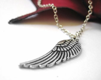 Silver Angel Wing Necklace Pendant Large Feather Wing Charm Jewelry