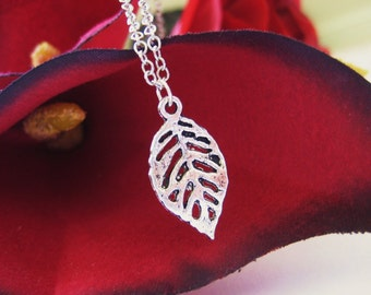 Silver Leaf Skeleton Necklace Leaf Jewelry Minimalist Pendant 121