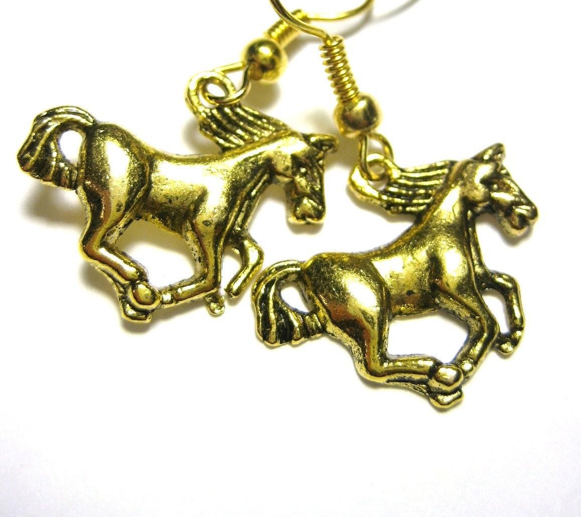 earrings gold equestrian jewelry stallion 075