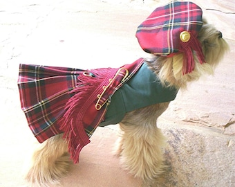 Royal Stewart Red Dog Kilt And Hat XXS,XS, X, or M