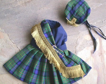 Blue / Green / Purple Dog Kilt and Hat Custom Made to Fit