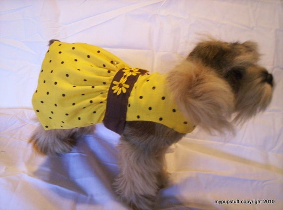 Yellow Daisies and Dots Harness Dog DressXXXS ,XXS, XS, S, M