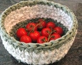 Crochet Sage Green and White Rag Basket-Eco Friendly