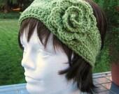 RESERVED for NIKKI-Crocheted Earwarmer Headband with Flower- Spring Green