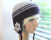 Crochet Ear Flap Beanie Gray and Eggplant with Flowers and Beads - Crochet Ear Flap Hat - Crochet Gray and Purple Beanie - Flower Beanie