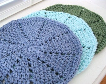 Crocheted Dishcloths - Crochet Washcloths-Set of 3- Aqua, Green, Blue - Cotton Dishcloths - Cotton Washcloths - Dishcloth Set