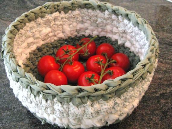Crochet Sage Green and White Rag Basket-Eco Friendly
