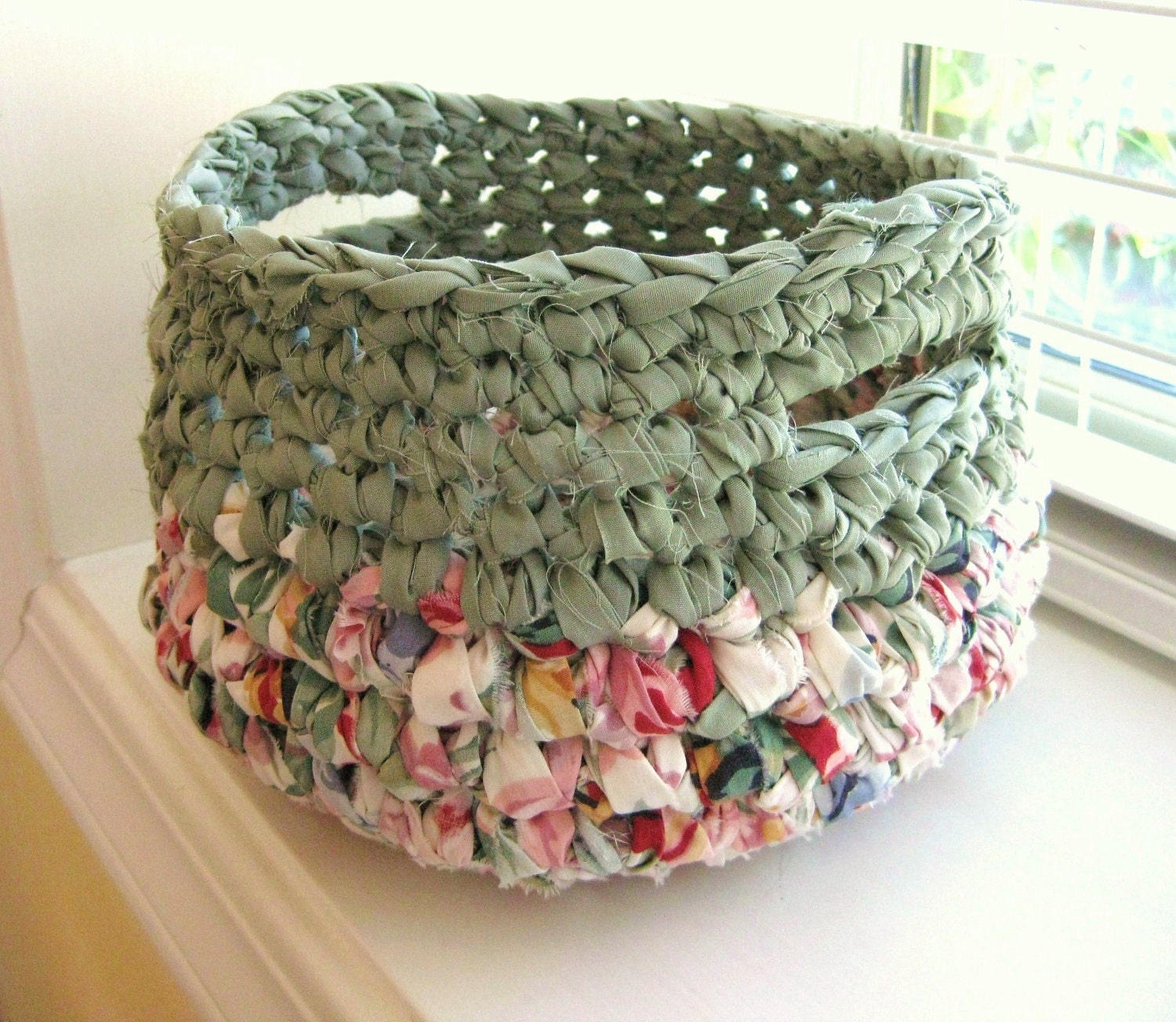 Crocheted Rag Basket Sage Green And Spring Colors-Repurposed