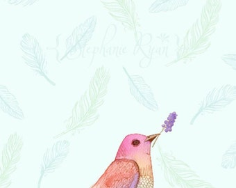 Watercolor Art Illustration Bird Print Patience Bird