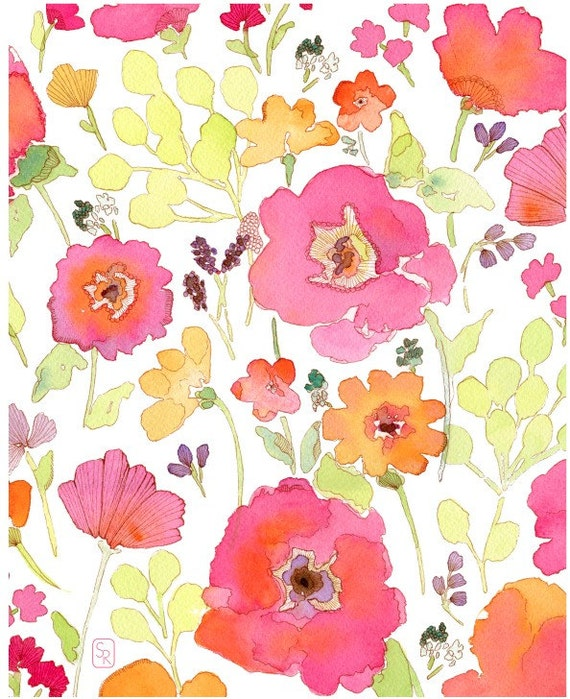 Watercolor Painting Art Illustration Floral Print In the Beginning